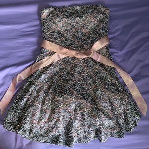 Sparkling Grey Strapless Junior Dress